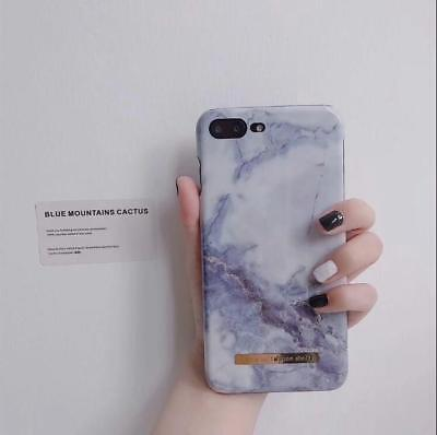 Blue Chic Granite Marble Glossy Hard PC Phone Case Cover For iPhone 7 8 plus 6 X