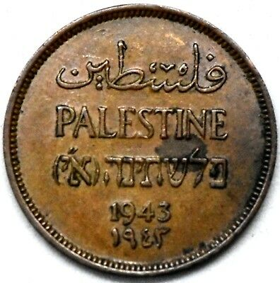Palestine( Israel)~ 1943  1 Mill Bronze  Nearly Uncirculated Coin.