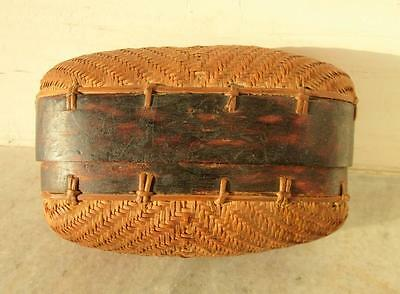 Antique Old Rare Straw Stick Woven Hand Made Unique Shape Box Primitive Folk Art