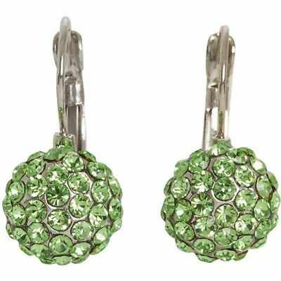 NEW Silvertone Light Green Pave Glass Crystal Half Ball Leverback Drop Earrings