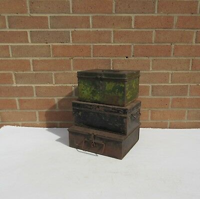3 vintage old rusty metal money petty cash deed tin boxes bus conductor cash box