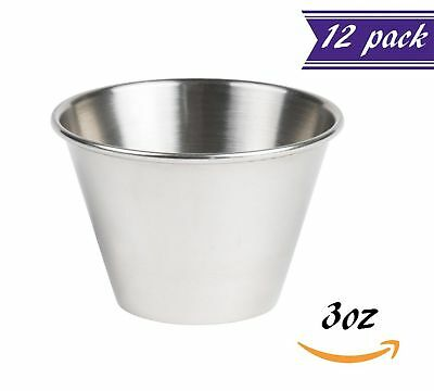 (12 Pack) 3-Ounce Sauce Cups, Stainless Steel Condiment Cups, Portion Cups
