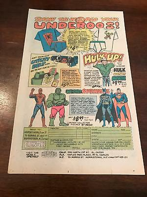 1979 VINTAGE 6x10 PRINT AD FOR MARVEL UNDEROOS,HULK UP INSTANT MUSCLES SPIDERMAN