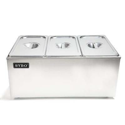 SYBO Stainless Steel Bain Marie Buffet Food Warmer Steam Table Commercial Grade
