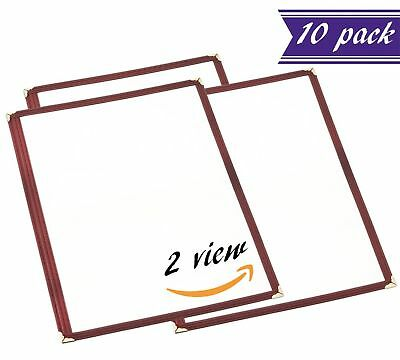 (10 Pack) Single Menu Covers, Dark Red, 8.5 x 11-inches Insert, 2 View