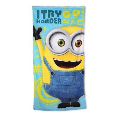 Children Beach Towel Minions 70x140cm 100% Cotton Bath Towel Terry NEW