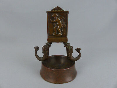 Fine Solid Bronze Antique Match Holder Ashtray with Dolphins and Cherubs