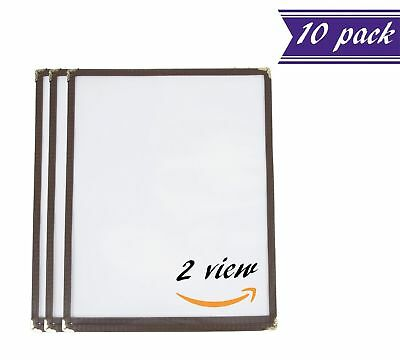 (10 Pack) Single Menu Covers, Brown, 8.5 x 11-inches Insert, 2 View