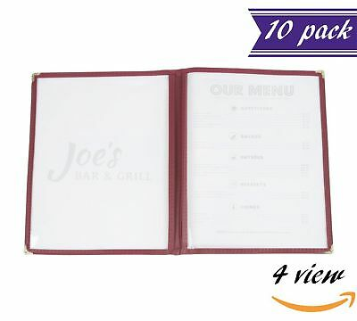 """(10 Pack) Double Fold Panels Menu Covers, Red / Maroon, 8.5 x 11"""" Insert, 4 View"""