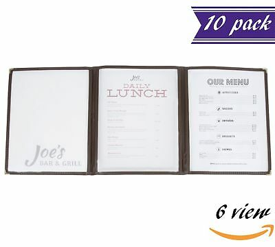 (10 Pack) Triple Panel Menu Covers, Brown, 6 View, 8.5 x 11-inches Insert
