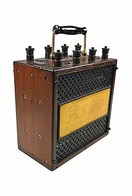 Antique Current Transformer in Mahogany Case with Brass Fittings, French.