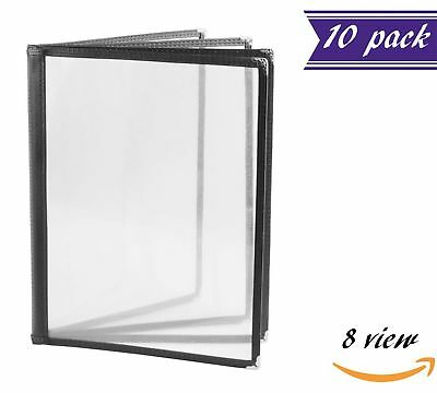 (10 Pack) 4 Page Book Fold Menu Covers, Black, 8 View, 8.5 x 11-inches Insert