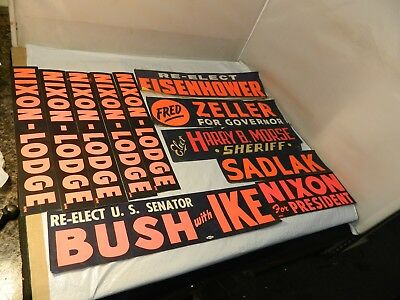 Lot of 11 Vintage Bumper stickers Nixon, Eisenhower, Bush