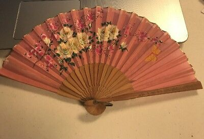 Antique Hand Painted Silk Floral Gold Leaf Folding Fan