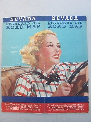 1930's Standard Oil Road Map of Nevada Nice Graphic