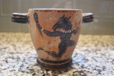 Antique Egyptian Skyphos Painted Figural Clay Ceramic Pot/Cup RARE!