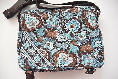 Vera Bradley Floral Brown & Blue Tote Style Diaper Bag/ Messenger