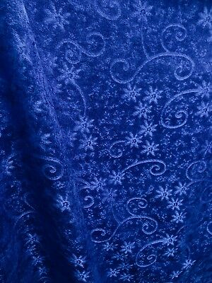Royal Blue Floral Chenille Upholstery Fabric 54 In Sold By The