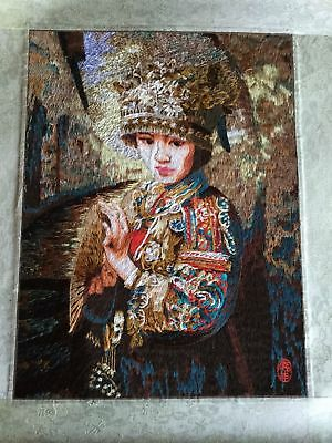 Vintage Chinese Japanese Embroidered Oriental Girl Picture Panel 38 x 47cm Ref40