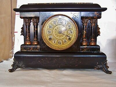 Antique Seth Thomas Adamantine Mantle Clock Chime Lion Head Marblized WORKS