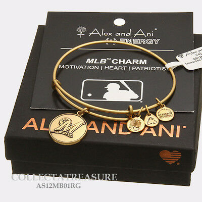 Authentic Alex and Ani Milwaukee Brewers Cap Logo Rafaelian Gold Charm Bangle