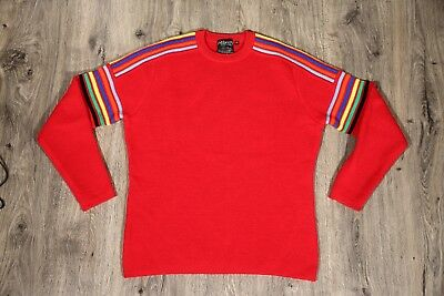Mens Vintage Wool Sweater XL Red with Rainbow Piping Navy Baby Blue Orange Yello