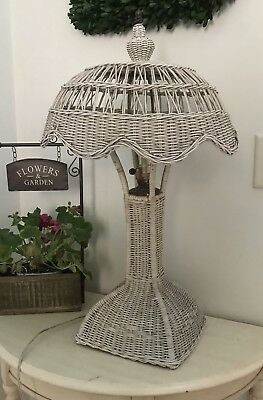 Vintage Arts And Crafts White Wicker Table Lamp 98 00 Picclick