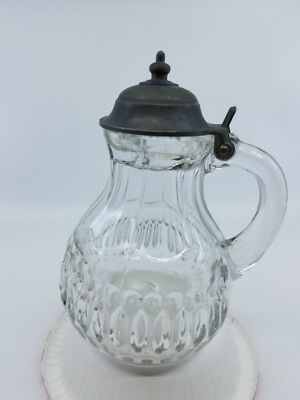 antique hand blown glass syrup pewter top design on bottom good condition