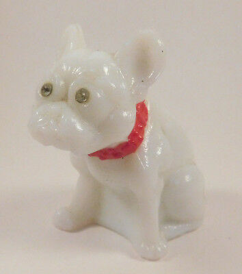 Vintage White Glass French Bulldog Figure with Rhinestone Eyes