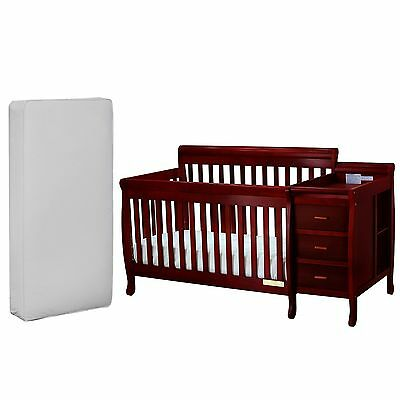 Convertible Crib And Changer with Deluxe Mattress 3 in 1 Combo Baby Full Size