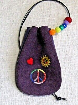 Small Handmade Beaded Leather Pouch , Peace & Love on Purple, New