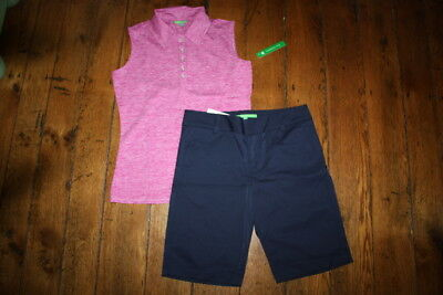 NWT Womens Fairway Fox Navy Golf Shorts Size 8 Pink Tinsley Tank Size Lg Coolmax