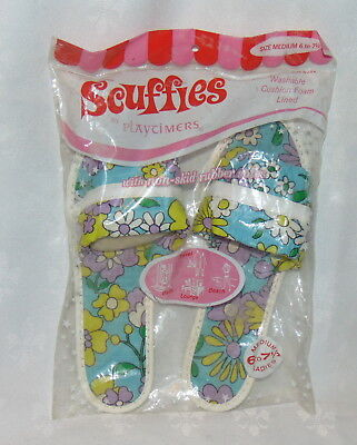 NOS Vintage 1970's Scuffies Women's Slippers Size 6 7 Blue White Flowers Slip On