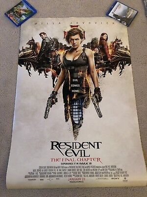 Resident Evil Final Chapter 27x40 original double sided movie poster