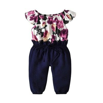Toddler Kids Baby Girls Floral Clothes Jumpsuit Romper Bodysuit Sunsuit Outfits