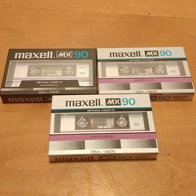 Maxell MX 90 Audio Cassette Tape 3 New Made in Japan Factory Sealed