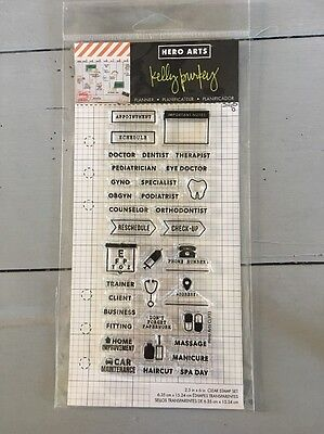 Kelly Purkey Clear Stamp Set Planner HERO ARTS CL933 Appointments Scrapbook