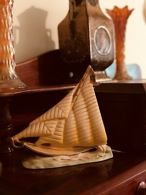 Antique Vintage Art Deco Sail Boat Nautical Yacht Figurine Chalkware Pottery