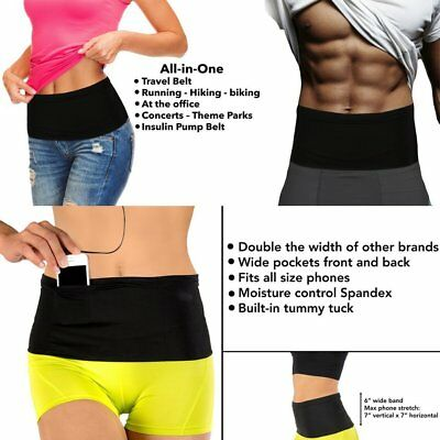 Elastic Running Belt Waist Travel Money Belt With Pockets for All Size Phone C3