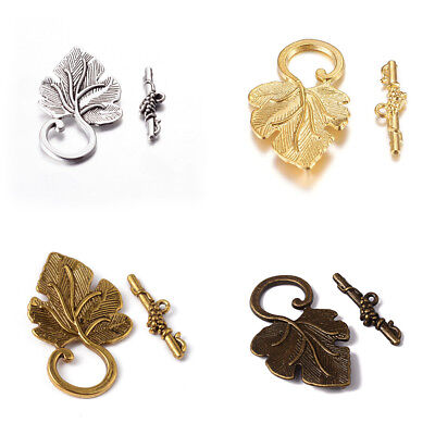 10 Sets Tibetan Alloy Leaf Toggle Clasps Carved Antiqued Closure Findings 37.5mm