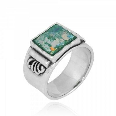 925 Sterling Silver 925 Ring With Square Shape Roman Glass Amazing Jewelry Gift