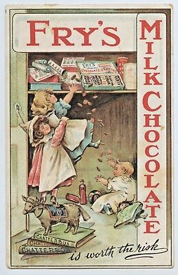 "C.1908 Advertising Litho Npu Postcard Fry's Chocolate ""is Worth The Risk""  N21."