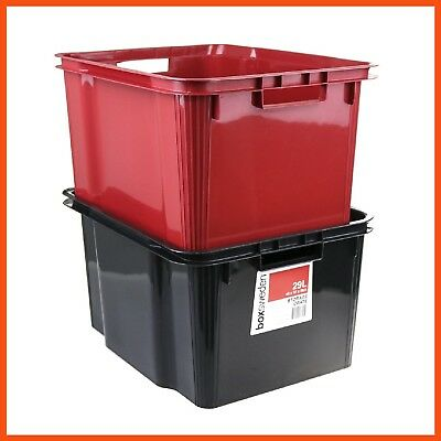 12 x HEAVY DUTY STACKABLE STORAGE CRATE 29L | Storage Bin Container Basket Tubs