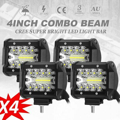 4x 4 inch 200W CREE LED Light Bar Spot Flood Offroad Driving Work Fog Reverse