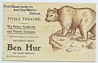 1906 Rare Advertising L Postcard Tivoli Theatre Ben Hur Wrestler Adelaide Sa N8