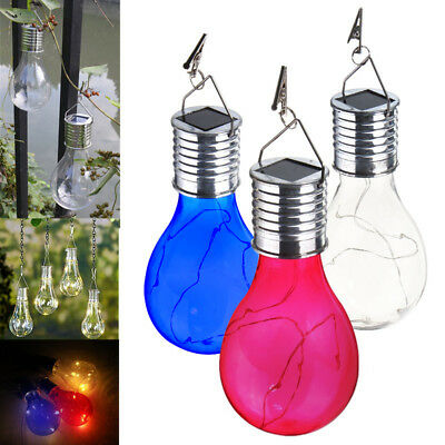 Solar Power 5 LED Hanging Fairy Light Bulb Garden Camping Night Lamp Xmas Party
