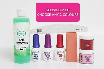 Gelish SNS Dip Complete Kit 3 Gel Set, SNS Remover, File & Choose Any 2 Colours