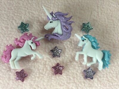 Dress It Up Buttons ~ Magical Unicorns ~ Mythical Horse ~Glitter Stars ~ Fantasy