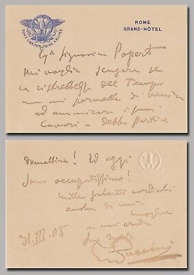 Giacomo Puccini (composer) – autograph letter signed to painter Charlotte Popert