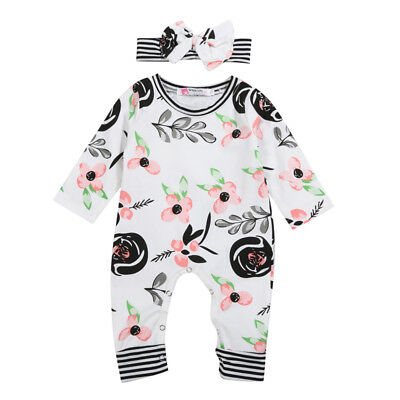 Newborn Baby Girls Flowers Romper Jumpsuit Bodysuit Headband Outfits Clothes USA